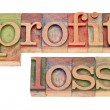 Profit and loss in letterpress type — Stock Photo