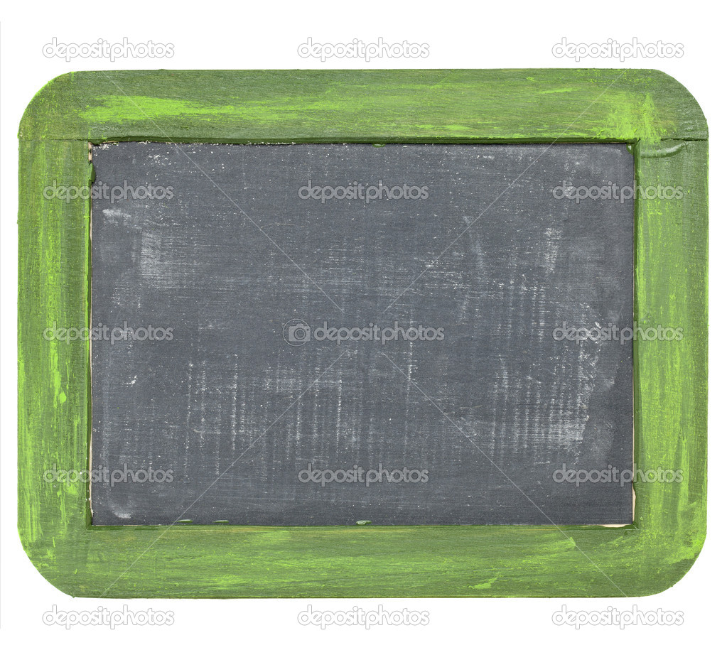 Vintage blank slate blackboard with white chalk dust and texture, grunge green wood frame — Stock Photo #6923882