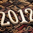 Year of 2012 in letterpress type - Stockfoto