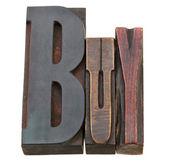 Buy word in letterpress type — Stock Photo