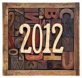 Year 2012 and letterpress type — Stock Photo