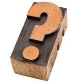 Signo de interrogación en el tipo de impresión tipográfica — Foto de Stock