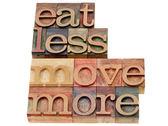 Comer menos, mexer mais — Foto Stock