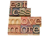 Eat less, move more — Foto Stock
