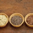 Stock Photo: Chia, flax and hemp seeds