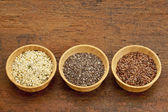 Chia, flax and hemp seeds — Stock Photo