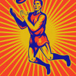 Aussie rules player jumping catching ball — Stock Photo #6976481