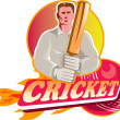 Cricket player batsman with ball and bat front view — Stockfoto