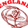 England rugby ball with English rose flower - Stock Photo