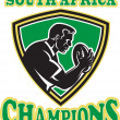 Rugby player South Africa Champions shield — Stock Photo