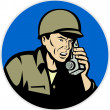 World war two soldier talking radio walkie talkie — Stock Photo #6978181