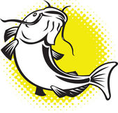 Catfish jumping up with halftone dots — Stock Photo