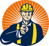 Construction worker pointing at you — Stock Photo