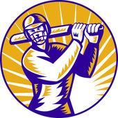 Cricket sports batsman batting retro — Stock Photo