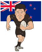 Rugby player running ball New Zealand flag — Stock Photo