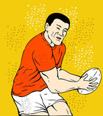 Rugby player running passing the ball — Stock Photo