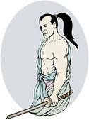 Katana Kılıç dövüşü duruşu ile samuray savaşçı — Stok fotoğraf