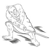 Samurai warrior with katana sword fighting stance — Stock Photo