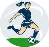 Soccer player woman kicking ball — Stock Photo