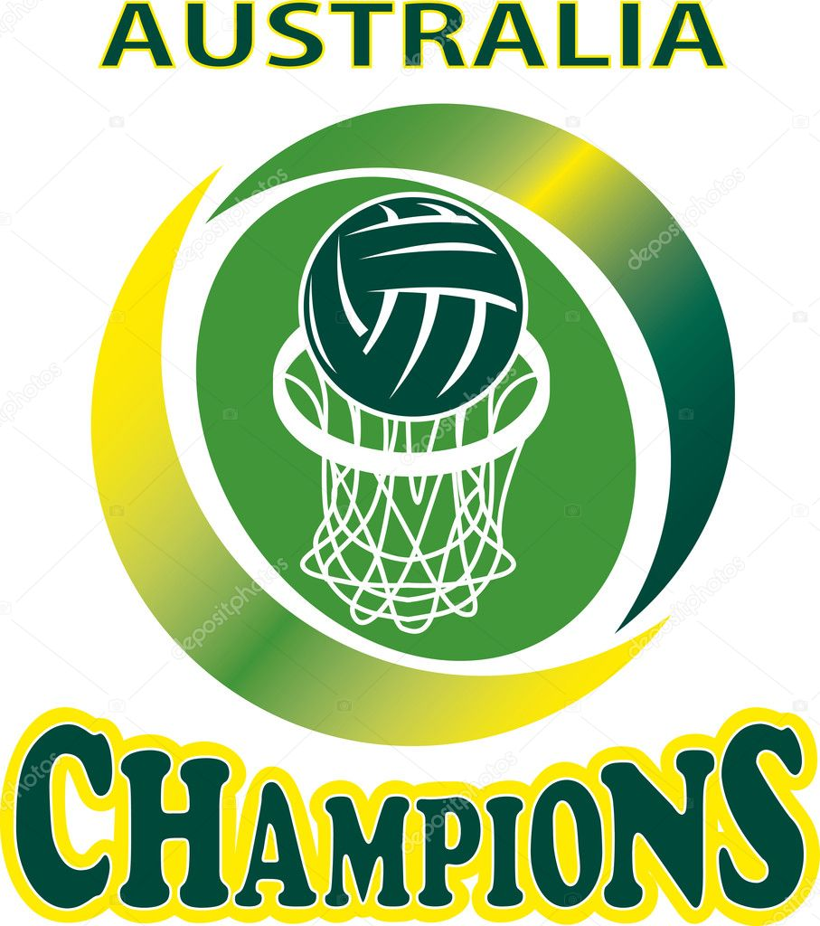Illustration of a netball ball and net hoop with words Australia Champions — Stock Photo #6977302