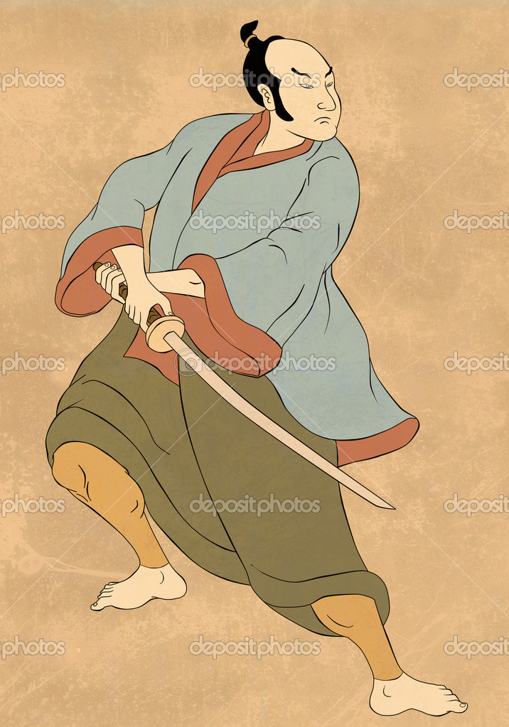 Illustration of a Samurai warrior with katana sword in fighting stance done in cartoon style — Stock Photo #6978052