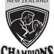 Rugby player New Zealand Champions shield — Stock Photo