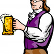 Benjamin Franklin gentleman holding mug of beer — Stock Photo
