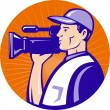 Cameraman film crew with video movie camera - Stock Photo