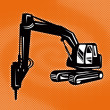 Construction digger mechanical excavator — Foto Stock