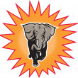 African elephant charging halftone dots — Stock Photo #6996185