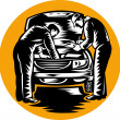 Automobile car mechanic repairing vehicle - Foto Stock