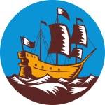 帆船集团高船帆船复古木刻 — 图库照片 #6996277