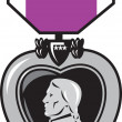 Stock Photo: Military medal of bravery valor purple heart