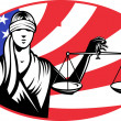 Lady blindfold scales of justice american flag — Stock Photo #6996344
