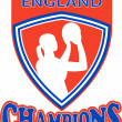Netball shooter champions England shield - Stock Photo