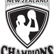 Netball player New Zealand Champions - Stock Photo