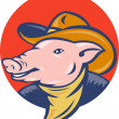 Pig with cowboy hat and bandana — Stock Photo