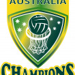 Netball Ball Hoop champions Australia shield - Stock Photo