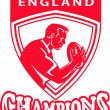 Rugby player England Champions shield — Stock Photo