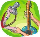 Barter swapping hands with camera and guitar — Stock Photo