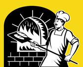 Baker, segurando a bandeja de cozimento em forno a lenha — Fotografia Stock