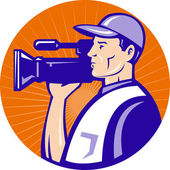 Cameraman film crew with video movie camera — Stock Photo