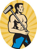 Worker with sledge hammer side view — Stock Photo