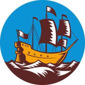 Galeão veleiro regata retrô xilogravura — Fotografia Stock