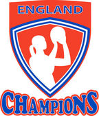 Netball shooter champions England shield — Stock Photo