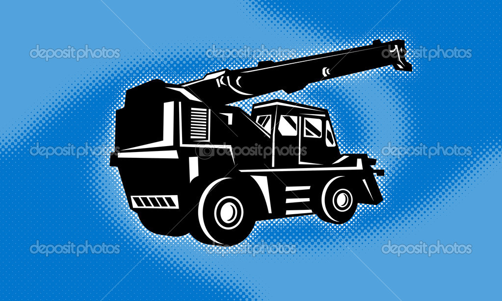 Illustration of a construction rough terrain crane done in retro style with halftone dot twirl or swirl in background — Stock Photo #6996572