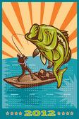 плакат календарь 2012 largemouth басс рыбалка — Стоковое фото