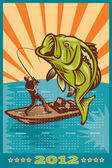 Poster calendario 2012 largemouth bass di pesca — Foto Stock