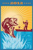 Plakát kalendář 2012 largemouth bass rybaření — Stock fotografie
