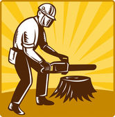 Baumpfleger tree surgeon chainsaw retro — Stockfoto